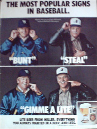 1980 Miller Lite Beer ad featuring Whitey Herzog & Dick Williams