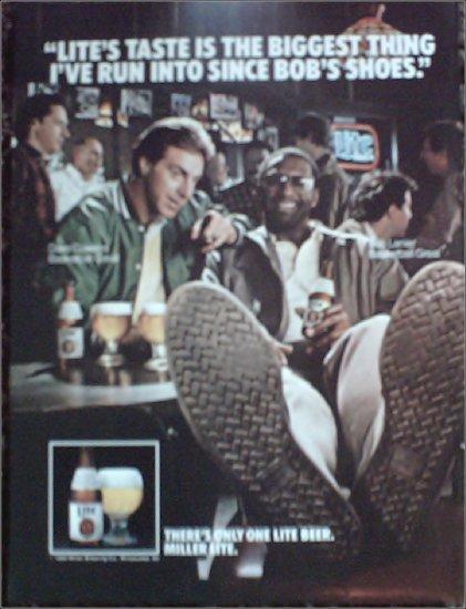 1986 Miller Lite Beer ad featuring Dave Cowens & Bob Lanier