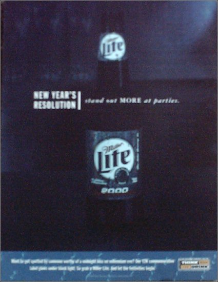 1999 Miller Lite Beer New Years ad