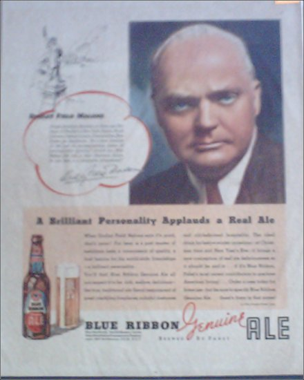 1934 Pabst Blue Ribbon Ale ad featuring Dudley Field Malone