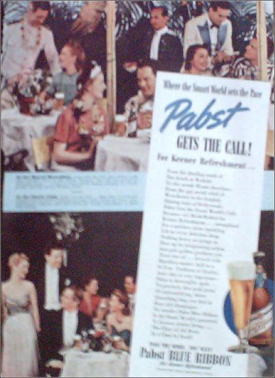 1939 Pabst Blue Ribbon Beer ad featuring the Royal Hawaiian & the Stork Club restaurants