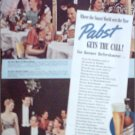 1939 Pabst Blue Ribbon Beer ad featuring the Royal Hawaiian & the Stork Club restaurants