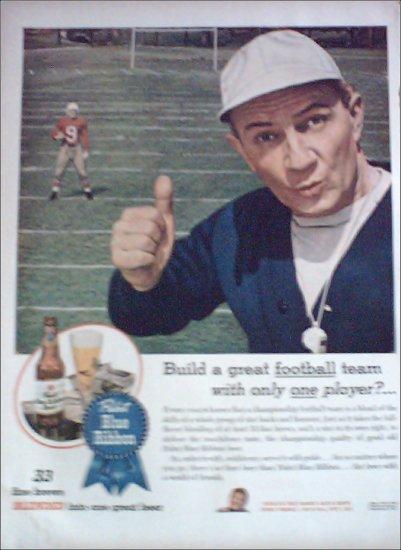 1945 Pabst Blue Ribbon Beer Football ad
