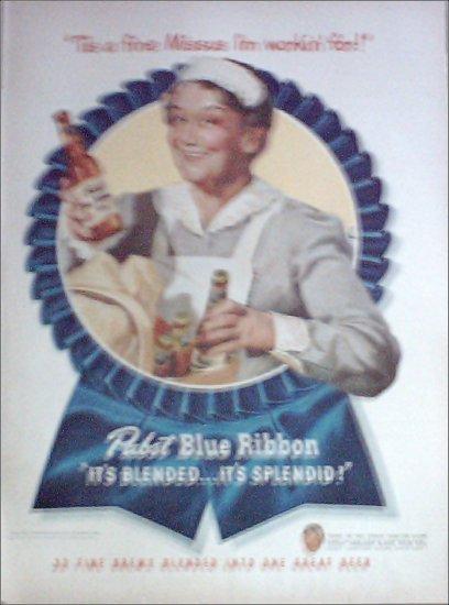 1947 Pabst Blue Ribbon Beer Maid ad