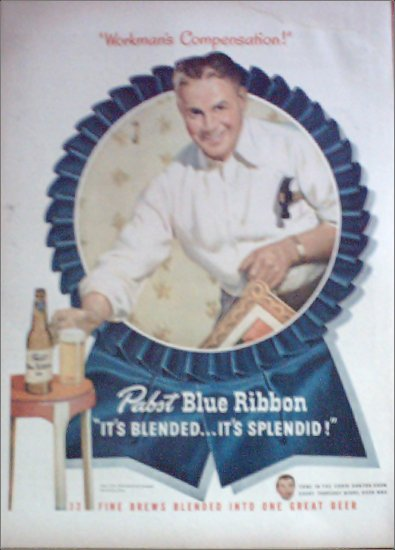 1947 Pabst Blue Ribbon Beer ad