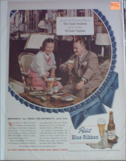 1948 Pabst Blue Ribbon Beer ad featuring Miss Gladys Swarthout & Mr Frank Chapman