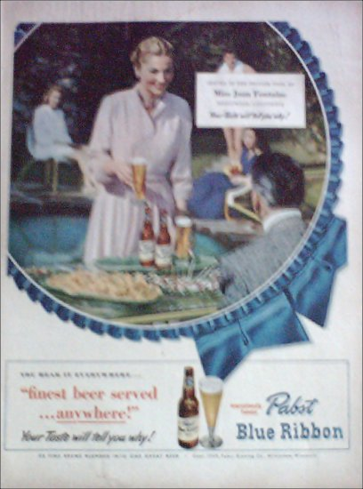1949 Pabst Blue Ribbon Beer ad Featuring Joan Fontaine