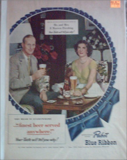 1949 Pabst Blue Ribbon Beer ad Featuring Mr & Mrs F Warren Pershing