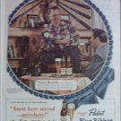 1950 Pabst Blue Ribbon Beer ad featuring Tommy Henrich