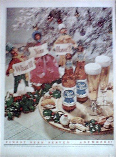 1951 Pabst Blue Ribbon Beer Christmas ad
