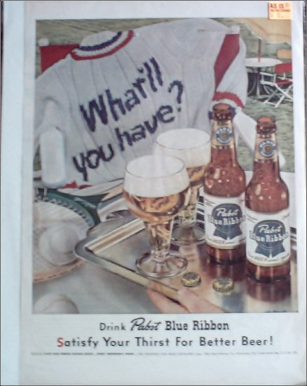 1952 Pabst Blue Ribbon Beer ad