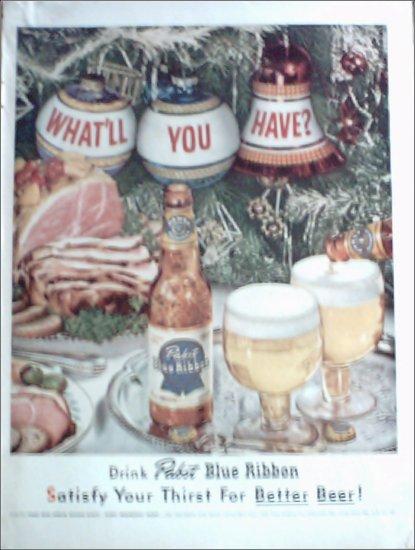 1952 Pabst Blue Ribbon Beer Christmas ad