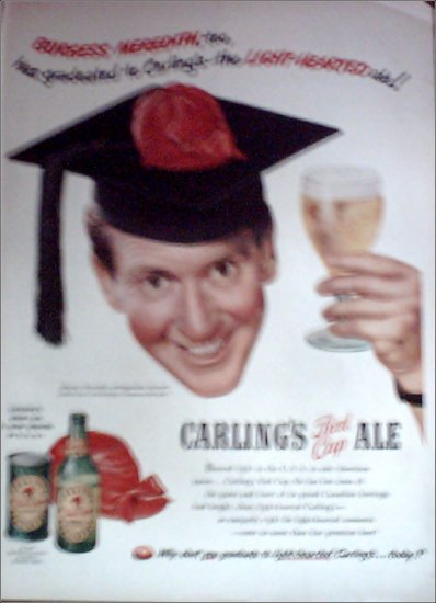 1950 Red Cap Ale ad featuring Burgess Meredith