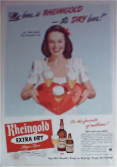 1944 Rheingold Beer ad featuring Miss Rheingold Jane House