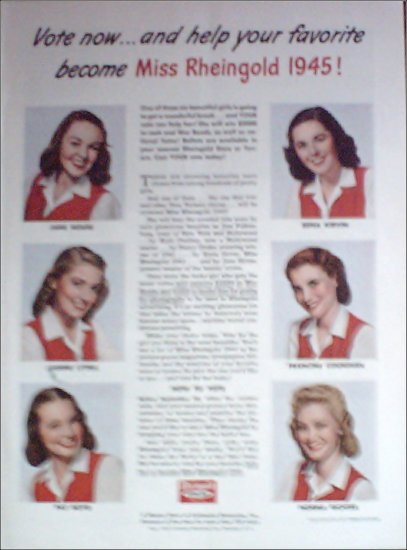 1945 Rheingold Beer Miss Rheingold Contestants ad