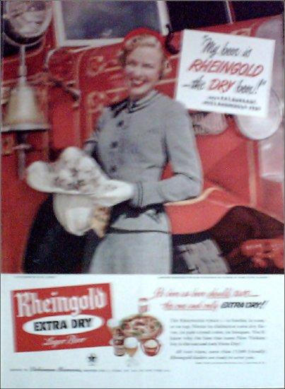 1950 Rheingold Beer ad featuring Miss Rheingold Pat Burrage