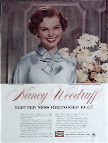 1955 Rheingold Beer Nancy Woodruff elected Miss Rheingold ad