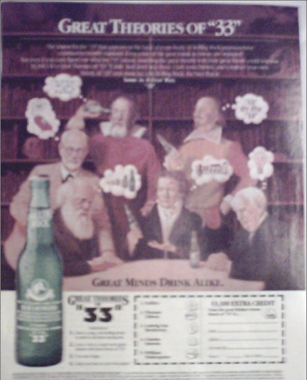 1992 Rolling Rock Beer Theories of #33 ad