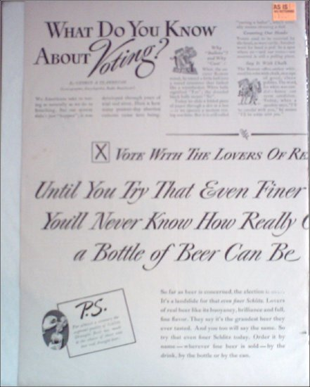 1940 Schlitz Beer ad #2
