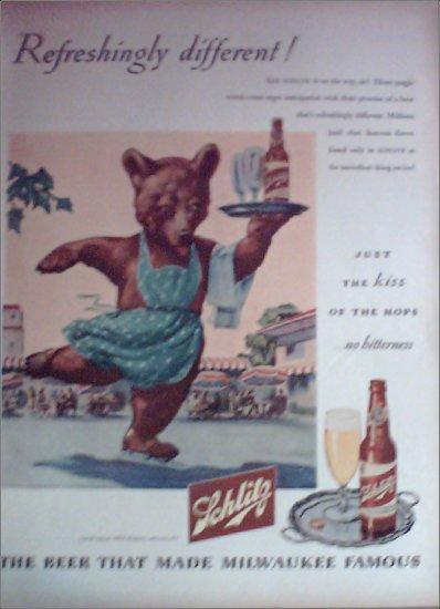 1945 Schlitz Beer Bear ad