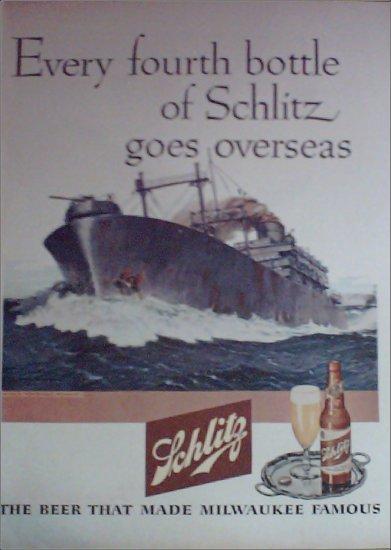 1945 Schlitz Beer Ship ad