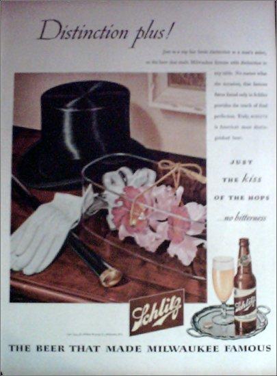 1945 Schlitz Beer Top Hat ad