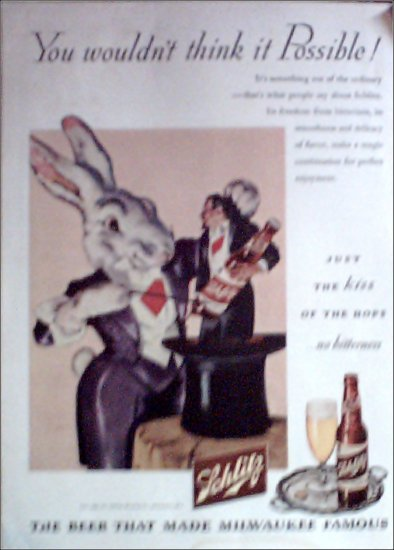 1945 Schlitz Beer Magic Rabbitt ad