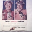 1964 Schlitz Beer Pop Top Can & Bottle ad
