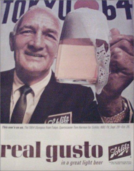 1964 Schlitz Beer ad featuring Tom Harmon