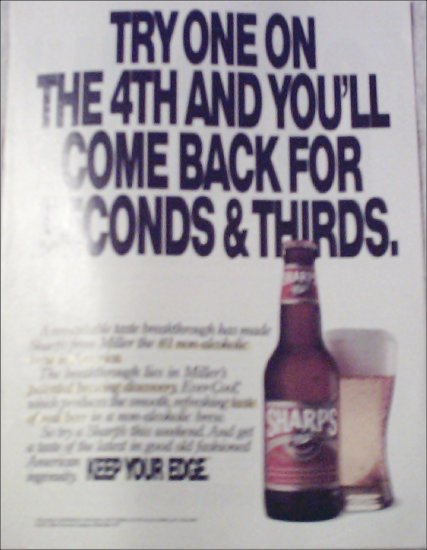 1991 Sharps Beer July 4th ad