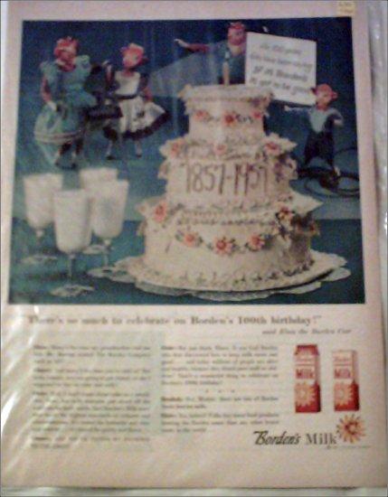 1957 Borden's 100th Anniversary ad