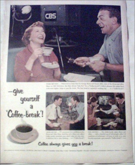 1953 Coffee-break ad featuring George Burns & Gracie Allen