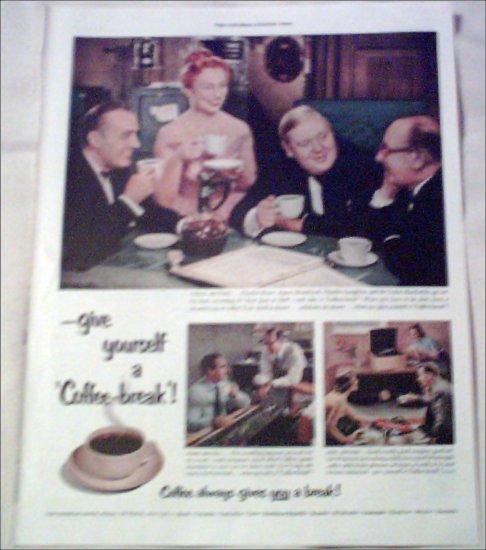 1953 Coffee-break ad featuring Charles Boyer, Agnes Moorehead & Charles Laughton