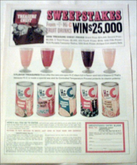 1964 Hi-C Sweepstakes ad