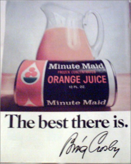 Minute Maid Orange Juice ad with Bing Crosby Autograph