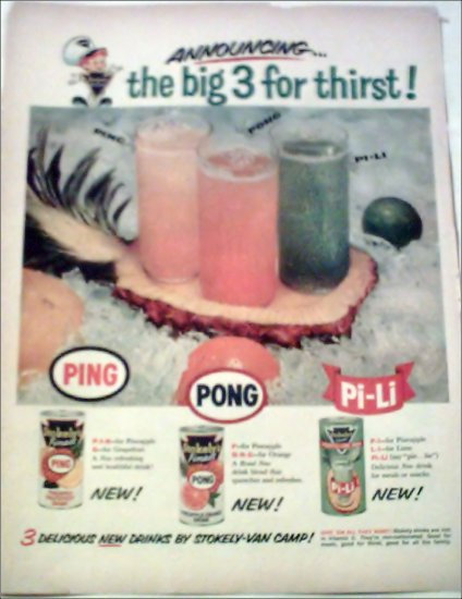 Stokely's Ping, Pong & PI-Li Fruit Drinks ad