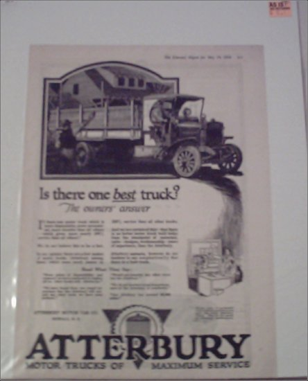 1920 Atterbury Flatbed Truck ad