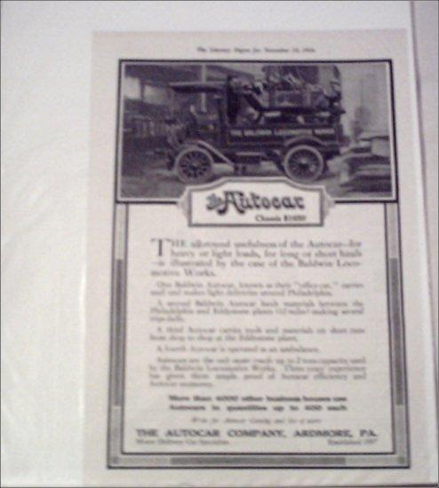 1916 Autocar Baldwin Locomotive Works Truck ad