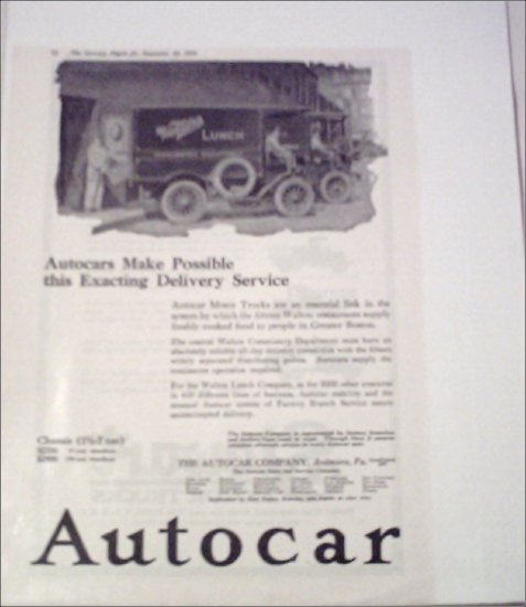 1919 Autocar Waltons Lunch Truck ad
