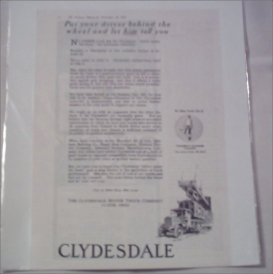 1920 Clydesdale Trucks ad