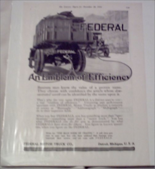 1916 Federal Truck ad