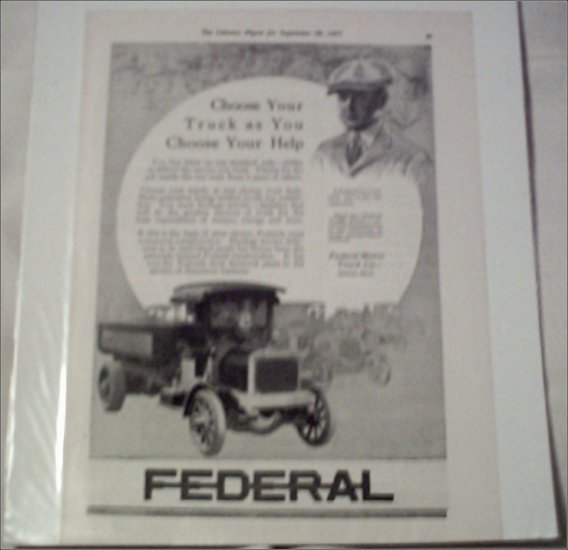 1917 Federal Dump Truck ad