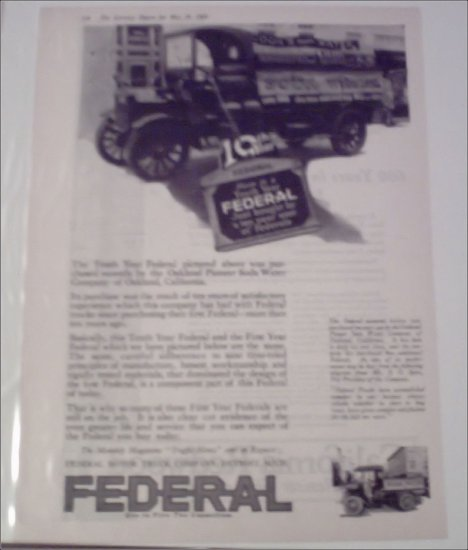 1920 Federal Truck ad for the Oakland Pioneer Soda Water Company