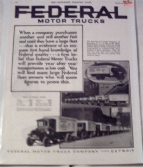 1924 Federal Truck ad