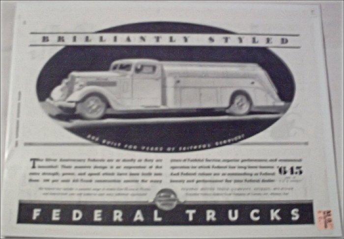 1935 Federal Tanker Truck ad