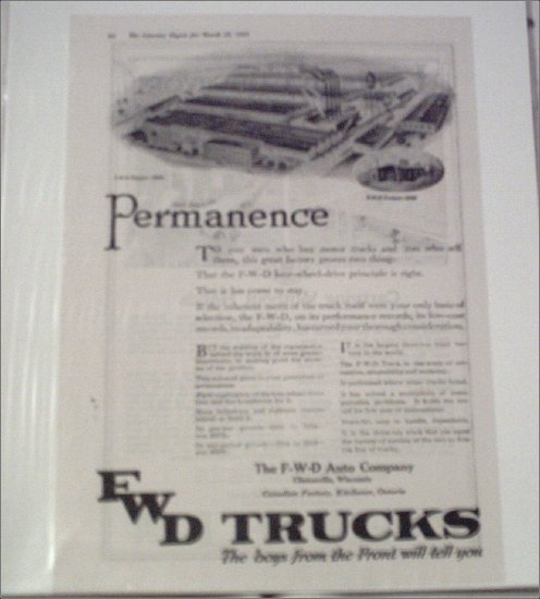 1919 FWD Truck ad