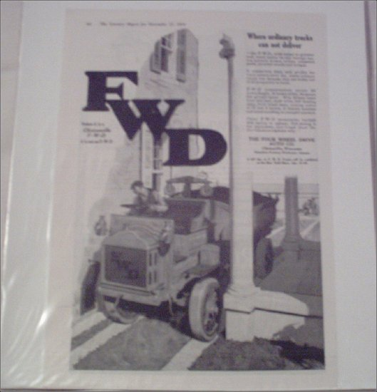 1920 FWD Dump Truck ad