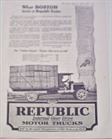 1919 Republic Truck ad featuring Blodgett Ordway & Webber