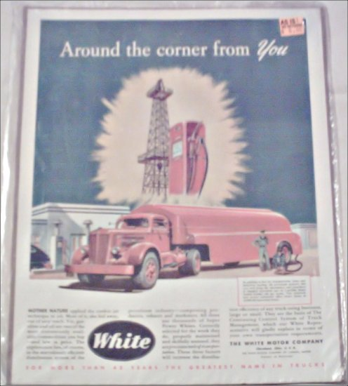 White Tanker Tractor Trailer Truck ad