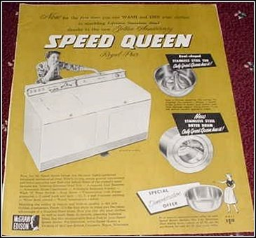 1958 Speed Queen Washer Dryer ad